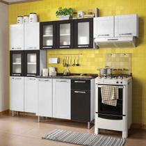 Cozinha de Aço Compacta com Balcão 3 Portas, Paneleiro e 2 Armários Vidro Multipla Bertolini Branco/Preto/Preto -