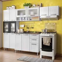 Cozinha de Aço Compacta com Balcão, Paneleiro e 2 Armários Aéreos Vidro Temperado Multipla Bertolini Branco/Preto -