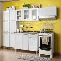 Cozinha de Aço Compacta Paneleiro 6 Portas, 2 Armários Aéreos e Balcão 3 Portas Multipla Bertolini Branco -
