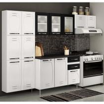 Cozinha de Aço Compacta Telasul Pérola 3 Peças Com Vidro Branco/Preto -