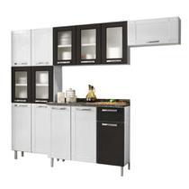 Cozinha de Aço Completa 2 Armários Aéreo,Paneleiro 6 Portas e Balcão 3 Portas 1 Gaveta Multipla Bertolini Branco/Preto -