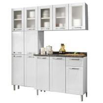 Cozinha de Aço Completa Armários Aéreo, Paneleiro 6 Portas e Balcão 3 Portas 1 Gaveta Multipla Bertolini Branco/Preto -