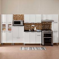 Cozinha de Aço Completa com 3 Paneleiros Vidro Temperado, Balcão e 2 Armários Aéreos Múltipla Bertolini Branco -
