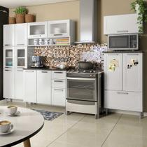 Cozinha de Aço Completa com Paneleiro, 2 Balcões e 2 Armários Aéreos Vidro Temperado Multipla Bertolini Branco -