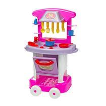 Cozinha De Brinquedo Cotiplás Play Time Com Acessórios Rosa/Branco -