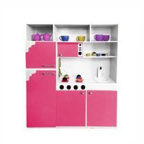 Cozinha de Brinquedo Infantil 130cm Rosa/Branco - Criança Feliz -