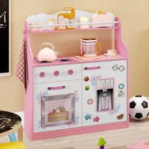 Cozinha Infantil 2 Portas 1 Gaveta com Rodízios Rosa/Branco - Estrela