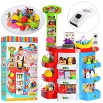 Cozinha infantil big mercadinho confeitaria caixa registradora mini loja completa 39 acessorios com som e luz - Makeda