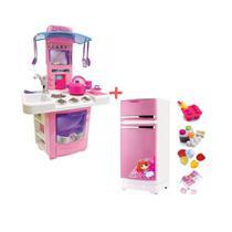 Cozinha infantil big star sai agua + geladeira rosa - Kit
