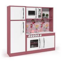Cozinha Infantil com refrigerador MDF Diana Rosa/Branco - Ofertamo -