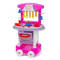 Cozinha Infantil Completa Com Pia Forno Fogão Play Time Rosa - Cotiplás