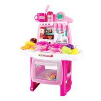 Cozinha Infantil Completa Fogão e Pia Panelas Com Acessórios Luzes e Som Menina Rosa - Importway