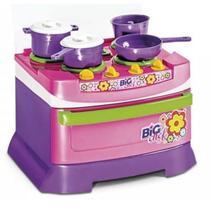 Cozinha Infantil Completa Fogão Mini Big Chef Rosa Poliplac -