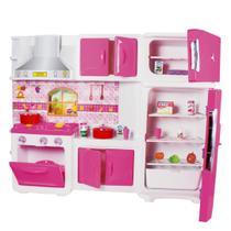 Cozinha infantil grande maxi house rosa com fogão geladeira panelinhas e acessorios - Lua De Cristal