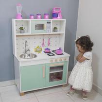 Cozinha Infantil MDF Verde com Pia Fogão e Forno Microondas - Eita! Casa Perfeita