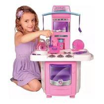 Cozinha Infantil Menina Completa Pia Fogão Forno Sai Água - Big Star