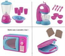 Cozinha Infantil Microondas Liquidificador Batedeira e Sanduicheira - Usual Brinquedos