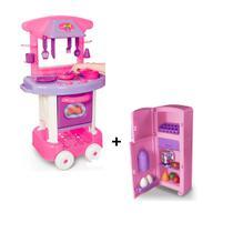 Cozinha infantil play time cotiplas + geladeira duplex rosa - Kit