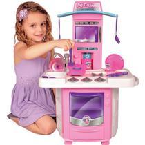 Cozinha Infantil Rosa Completa Com Pia Fogão Forno Sai Água - Big Star