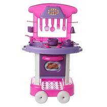 Cozinha Infantil Rosa Forno Fogão E Pia Brinquedos Play Time Meninas Divertida Original Acessorios - Cotiplás