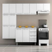 Cozinha Itatiaia Criativa Compacta 4 Pecas Branco Paneleiro Armario Aereo e Gabinete -