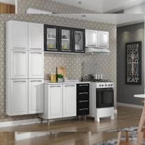 Cozinha Itatiaia Criativa Compacta 4 Pecas Branco/Preto Paneleiro, Armario Aereo 3 Vidros Gabinete -
