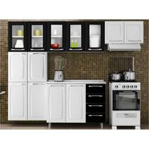 Cozinha Itatiaia Criativa Compacta 4 Pecas Branco/Preto Paneleiro Armario Aereo 5 Vidros Gabinete -