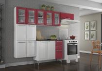 Cozinha Itatiaia Luce - 4 Peças 5 Vidros  Branca c/ Vermelho -