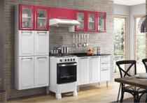 Cozinha Itatiaia Luce - 4 Peças 5 Vidros  Vermelho c/ Branco -