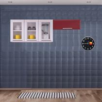 Cozinha Itatiaia Luce Armários Aéreos 4 Portas 3 Vidros Branco /Vermelho -