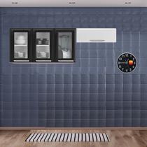 Cozinha Itatiaia Luce Armários Aéreos 4 Portas 3 Vidros Preto / Branco -