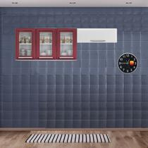 Cozinha Itatiaia Luce Armários Aéreos 4 Portas 3 Vidros Vermelho / Branco -