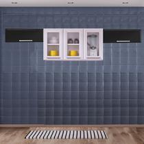 Cozinha Itatiaia Luce com Armário Aéreo com 3 Vidros 5 Portas Branco / Preto -