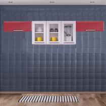 Cozinha Itatiaia Luce com Armário Aéreo com 3 Vidros 5 Portas Branco / Vermelho -