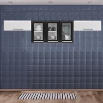 Cozinha Itatiaia Luce com Armário Aéreo com 3 Vidros 5 Portas Preto / Branco -