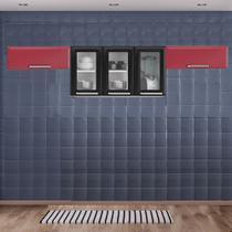 Cozinha Itatiaia Luce com Armário Aéreo com 3 Vidros 5 Portas Preto / Vermelho -
