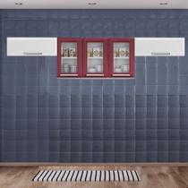 Cozinha Itatiaia Luce com Armário Aéreo com 3 Vidros 5 Portas Vermelho / Branco -