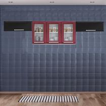 Cozinha Itatiaia Luce com Armário Aéreo com 3 Vidros 5 Portas Vermelho / Preto -