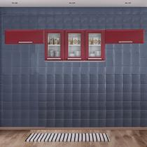 Cozinha Itatiaia Luce com Armário Aéreo com 3 Vidros 5 Portas Vermelho -