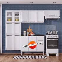 Cozinha Itatiaia Luce Compacta 3 Pecas 2 Vidros Branco Paneleiro Armario Aereo -