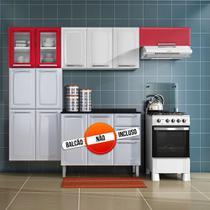 Cozinha Itatiaia Luce Compacta 3 Pecas 2 Vidros Branco / Vermelho Paneleiro Armario Aereo -