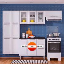 Cozinha Itatiaia Luce Compacta 3 Pecas 3 Vidros Branco Paneleiro Armario Aereo -