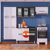 Cozinha Itatiaia Luce Compacta 3 Pecas 3 Vidros Branco/Preto Paneleiro Armario Aereo -