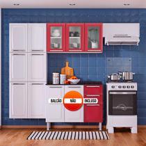 Cozinha Itatiaia Luce Compacta 3 Pecas 3 Vidros Branco/Vermelho Paneleiro Armario Aereo -