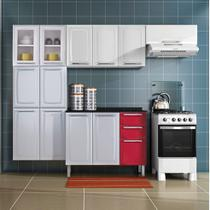 Cozinha Itatiaia Luce Compacta 4 Pecas 2 Vidros Branco com Balcao Vermelho -