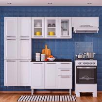 Cozinha Itatiaia Luce Compacta 4 Pecas 3 Vidros Branco Paneleiro Armario Aereo Gabinete -