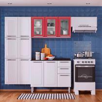 Cozinha Itatiaia Luce Compacta 4 Pecas 3 Vidros Branco / Vermelho Paneleiro Armario Aereo Gabinete -
