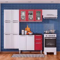 Cozinha Itatiaia Luce Compacta 4 Pecas 3 Vidros Branco/Vermelho Paneleiro Armario Aereo Gabinete -