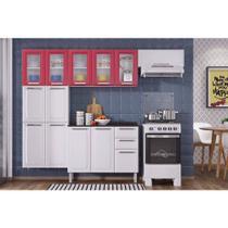 Cozinha Itatiaia Luce Compacta 4 Pecas 5 Vidros Branco/Vermelho Paneleiro Armario Aereo Gabinete -