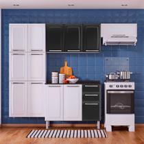 Cozinha Itatiaia Luce Compacta 4 Pecas Branco/Preto Paneleiro Armario Aereo Gabinete -